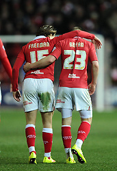 Bristol City's Joe Bryan celebrates with Bristol City's Luke Freeman  - Photo mandatory by-line: Joe Meredith/JMP - Mobile: 07966 386802 - 10/02/2015 - SPORT - Football - Bristol - Ashton Gate - Bristol City v Port Vale - Sky Bet League One