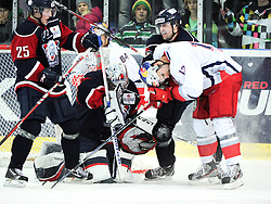 17.12.2011, Volksgarten Eisarena, Salzburg, AUT, Red Bull Salute, Linkoepings HC vs EC Red Bull Salzburg, at the picture Michael Schiechl (EC Red Bull Salzburg, #13) and Fredrik Norrena (Linkoepings HC, #30), during the Red Bull Salute Semifinal, Volksgarten Eisarena, Salzburg, Austria, 2011-10-30, EXPA Pictures © 2011, PhotoCredit: EXPA/ Reinhard Eisenbauer
