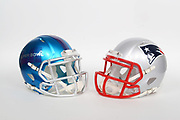 General overall view of New England Patriots and Super Bowl LII helmets. The Philadelphia Eagles will play the Patriots in Super Bowl LII on Sunday, Feb. 4, 2018 in the 52nd meeting between the AFC and the NFC Champions.