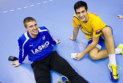 Urban Lesjak of Celje and Igor Zabic of Celje after the handball match between RK Celje Pivovarna Lasko and IK Savehof (SWE) in 3rd Round of Group B of EHF Champions League 2012/13 on October 13, 2012 in Arena Zlatorog, Celje, Slovenia. (Photo By Vid Ponikvar / Sportida)