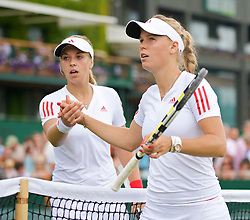 LONDON, ENGLAND - Monday, June 29, 2009: Sabine Lisicki (GER) and Caroline Wozniacki (DEN) after the Ladies' Singles 4th Round match on day seven of the Wimbledon Lawn Tennis Championships at the All England Lawn Tennis and Croquet Club. (Pic by David Rawcliffe/Propaganda)