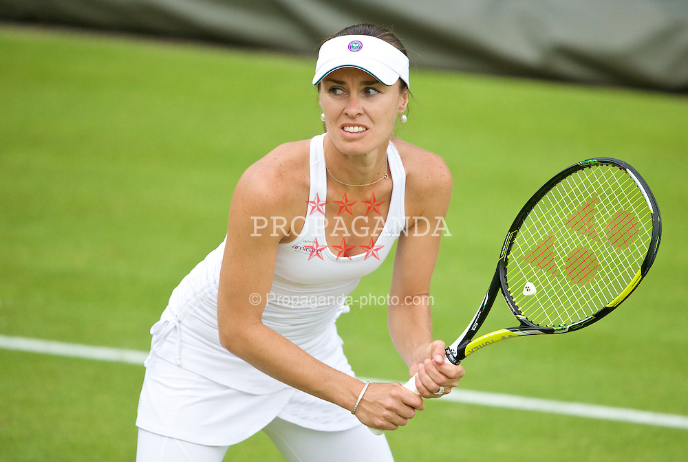 LONDON, ENGLAND - Wednesday, June 25, 2014: Martina Hingis (SUI) during the Ladies' Doubles 1st Round match on day three of the Wimbledon Lawn Tennis Championships at the All England Lawn Tennis and Croquet Club. (Pic by David Rawcliffe/Propaganda)