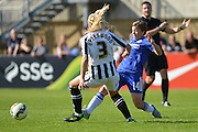 Chelsea Ladies forward Fran Kirby tackles Notts County Ladies defender Alex Greenwood during the FA Women's Super League match between Chelsea Ladies FC and Notts County Ladies FC at Staines Town FC, Staines, United Kingdom on 6 September 2015. Photo by Mark Davies.