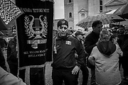 A fascist wearing the 'fez' typical fascist hat. About 2000 fascists gathered in Predappio, Italy to commemorate the annivrsary of the 'Marcia su Roma' A march held on October 28th 1922 and marked the start of the Italian fascist era .Federico Scoppa