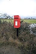 Rural pillar red letter postal box
