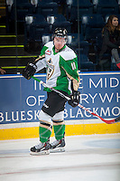 KELOWNA, CANADA - DECEMBER 6: Cory Millette #11 of Prince Albert Raiders skates during warm up against the Kelowna Rockets on December 6, 2014 at Prospera Place in Kelowna, British Columbia, Canada.  (Photo by Marissa Baecker/Shoot the Breeze)  *** Local Caption *** Cory Millette;