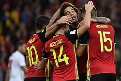 August 31, 2017 - Liege, BELGIUM - Belgium's players celebrate after scoring during a soccer between Belgian national soccer team Red Devils and Gibraltar, a World Cup 2018 qualification game in Group H, Thursday 31 August 2017 in Liege, Belgium. BELGA PHOTO DIRK WAEM (Credit Image: © Dirk Waem/Belga via ZUMA Press)