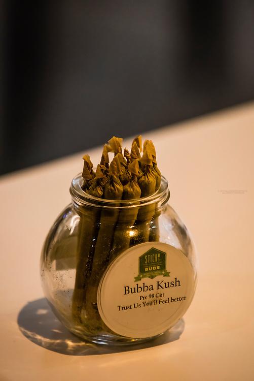 Bubba Kush pre-rolled joints, Sticky Buds Broadway marijuana dispensary, Denver, Colorado USA.