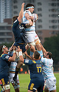 Racing 92 player MANUEL CARIZZA catches the ball in a line-out during the Natixis Cup rugby match between French team Racing 92 and New Zealand team Otago Highlanders at Sui San Wan Stadium in Hong Kong.
