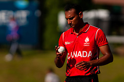 September 22, 2018 - Morrisville, North Carolina, US - Sept. 22, 2018 - Morrisville N.C., USA - Team Canada CECIL PERVEZ (72) prepares to throw during the ICC World T20 America's ''A'' Qualifier cricket match between USA and Canada. Both teams played to a 140/8 tie with Canada winning the Super Over for the overall win. In addition to USA and Canada, the ICC World T20 America's ''A'' Qualifier also features Belize and Panama in the six-day tournament that ends Sept. 26. (Credit Image: © Timothy L. Hale/ZUMA Wire)