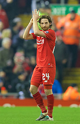 LIVERPOOL, ENGLAND - Wednesday, January 20, 2016: Liverpool's Joe Allen applauds the supporter as he is substituted against Exeter City during the FA Cup 3rd Round Replay match at Anfield. (Pic by David Rawcliffe/Propaganda)
