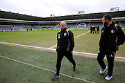 Mansfield Town manager Adam Murray walks off the pitch at Home Park after inspecting it before the Sky Bet League 2 match between Plymouth Argyle and Mansfield Town at Home Park, Plymouth, England on 13 February 2016. Photo by Graham Hunt.