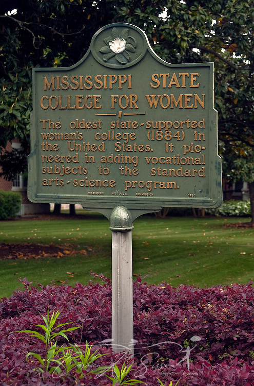 A historic marker tells the history of the Mississippi University for Women April 19, 2010 in Columbus, Miss. Established in 1884 and renamed to MUW in 1974, it was the first public women's college in the United States. (Photo by Carmen K. Sisson/Cloudybright)