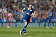 Leicester City forward Jamie Vardy (9)  during the Barclays Premier League match between Leicester City and Southampton at the King Power Stadium, Leicester, England on 3 April 2016. Photo by Simon Davies.