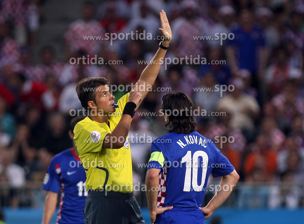Referee Roberto Rosetti of Italy and Niko Kovac of Croatia during the UEFA EURO 2008 Quarter-Final soccer match between Croatia and Turkey at Ernst-Happel Stadium, on June 20,2008, in Wien, Austria. Turkey won after penalty shots. (Photo by Vid Ponikvar / Sportal Images)