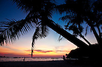 Tropical beach scene silhouetted against lingering brilliantly coloured sunset skies on Boracay Island, Philippines.