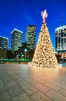 Christmas tree in Miami Bayfront Park, with cityscape in the back at night.