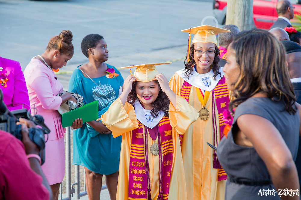 Valedictorian Mary Y.L. Buendia and salutatorian Deyjah A. Foster prepare to enter the gymnasium for the commencement exercises.  Ivanna Eudora Kean High School holds its 42nd Annual Commencement Exercise at Digna Marie Wheatley Gymnasium on 13 June 2015.  © Aisha-Zakiya Boyd