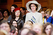 UK Feminista organises a mass Lobby of Parliament. It is led by  Helen Pankhurst is the great granddaughter of suffragette Emmeline Pankhurst. She was joined by over 200 women and men from around the country who aimed to meet their MPs to call for urgent action on women's equality. The lobby also featured a performance by the 'Olympic Suffragettes' – a group of women who performed in Danny Boyle's 2012 Olympics opening ceremony.  There were also talks by Yvette Cooper MP, Caroline Lucas MP and Amber Rudd MP. Westminster, London, UK, 24 October 2012.
