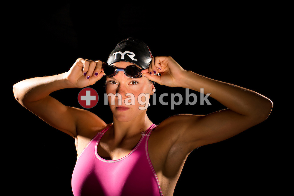 Swimmer Svenja STOFFEL of Switzerland is pictured during a portrait photo session in a mobile studio at the Centro sportivo nazionale della gioventu in Tenero, Switzerland, Sunday, Aug. 10, 2014. (Photo by Patrick B. Kraemer / MAGICPBK)