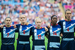 COVENTRY, ENGLAND - Friday, August 3, 2012: Great Britain's Karen Carney, Sophie Bradley, Kim Little, Anita Asante and Jill Scott line-up for the national anthem before the Women's Football Quarter-Final match between Great Britain and Canada, on Day 7 of the London 2012 Olympic Games at the Rioch Arena. Canada won 2-0. (Photo by David Rawcliffe/Propaganda)
