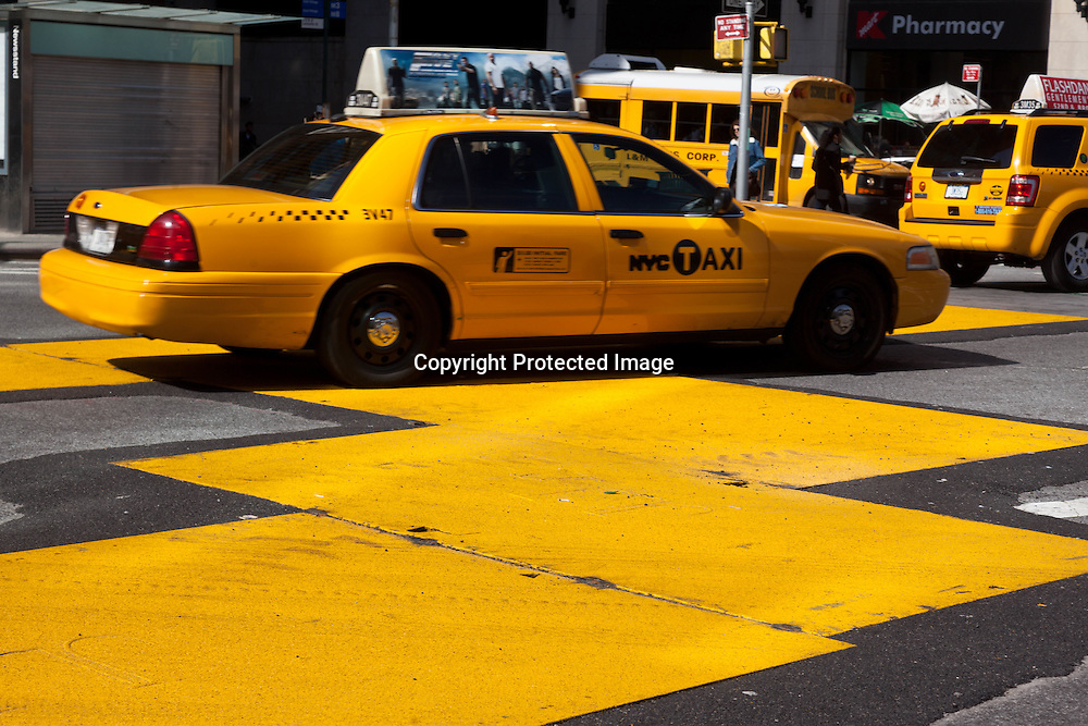 New York, Yellow cabs in Astor place East village
