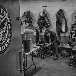TRENTON, ON  - MAY 5,  2017: Canadian Junior Hockey League, Central Canadian Jr. &quot;A&quot; Championship. The Dudley Hewitt Cup. Game 7 between Georgetown Raiders and the Powassan Voodoos. Georgetown Raiders dressing room hours before the game.<br /> (Photo by Tim Bates / OJHL Images)