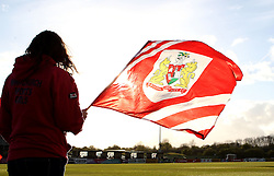 A flag bearer at The Bristol City Women vs Aston Villa Ladies match - Mandatory by-line: Robbie Stephenson/JMP - 28/04/2016 - FOOTBALL - Stoke Gifford Stadium - Bristol, England - Bristol City Women v Aston Villa Ladies - FA Women's Super League 2