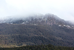 Snow showers on the Great Western Tiers at Liffey in noerthern Tasmania