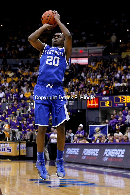 January 28, 2012; Baton Rouge, LA; Kentucky Wildcats guard Doron Lamb (20) against the LSU Tigers during the first half of a game at the Pete Maravich Assembly Center.  Mandatory Credit: Derick E. Hingle-US PRESSWIRE