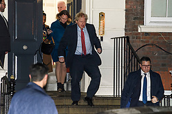 © Licensed to London News Pictures. 13/12/2019. London, UK. British Prime Minister BORIS JOHNSON leaves Conservative Campaign Headquarters after the Conservative party achieved a majority in the General Election. A general election was called for December 12th following a deadlock in Parliament over the UK's decision to leave the EU. Photo credit: Ben Cawthra/LNP