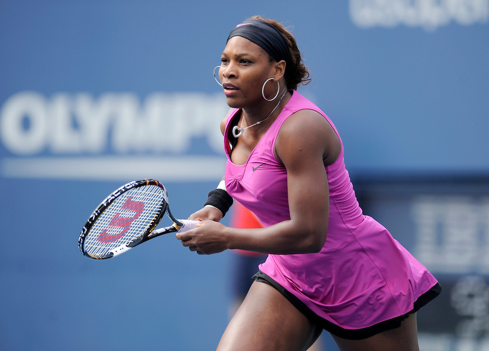 NEW YORK - AUGUST 31: Serena Williams in action against  Alexa Glatch during day one of the 2009 U.S. Open at the USTA Billie Jean King National Tennis Center on August 31, 2009 in Flushing neighborhood of the Queens borough of New York City. (Photo by Rob Tringali) *** Local Caption *** Serena Williams