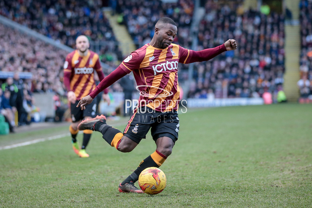 Mark Marshall (Bradford City) crosses the ball into the penalty box to set up another Bradford City attack during the EFL Sky Bet League 1 match between Bradford City and Bolton Wanderers at the Coral Windows Stadium, Bradford, England on 18 February 2017. Photo by Mark P Doherty.
