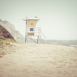 Crystal Cove Lifeguard Tower #11 in Laguna Beach. Crystal Cove State Park is along the Pacific Ocean in Orange County Southern California.