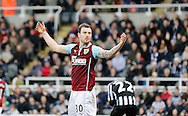 Ashley Barnes of Burnley looks back at the goal in disbelief he hasn't scored during the Barclays Premier League match at St. James's Park, Newcastle<br /> Picture by Simon Moore/Focus Images Ltd 07807 671782<br /> 01/01/2015