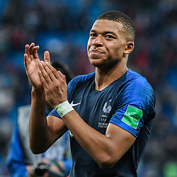 Kylian Mbappe of France celebrates during the Semi Final FIFA World Cup match between France and Belgium at Krestovsky Stadium on July 10, 2018 in Saint Petersburg, Russia. (Photo by Anthony Dibon/Icon Sport)