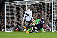 Enner Valencia of West Ham United (right) scores the opening goal against Everton during the FA Cup match at the Boleyn Ground, London<br /> Picture by David Horn/Focus Images Ltd +44 7545 970036<br /> 13/01/2015