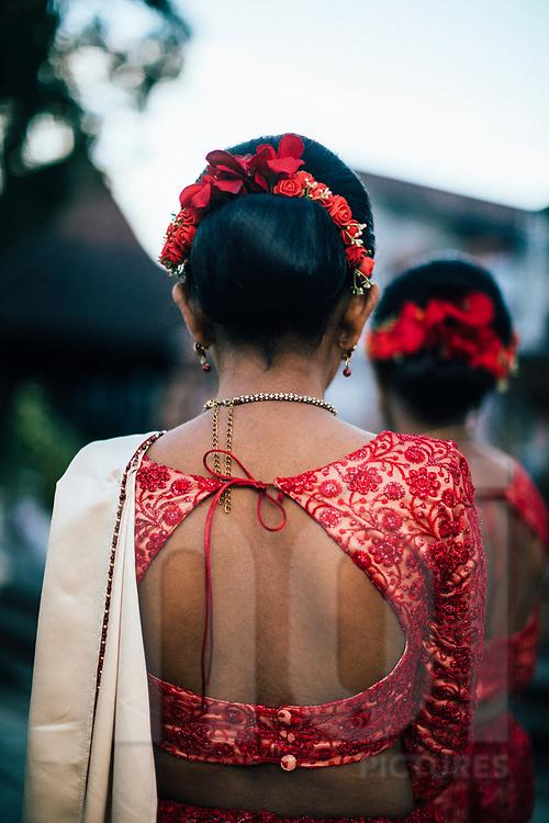 A young Sri Lankan bridesmaid, Kandy, Sri Lanka, Asia