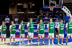 Players of Slovenia listening to the national anthem during basketball match between National teams of Slovenia and Bulgaria in Group D of Preliminary Round of Eurobasket Lithuania 2011, on August 31, 2011, in Arena Svyturio, Klaipeda, Lithuania.   Slovenia defeated Bulgaria 67 - 59. (Photo by Vid Ponikvar / Sportida)