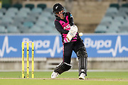 Holly Huddleston hits over mid-wicket. Women's T20 international Cricket, Australia v New Zealand White Ferns.  Manuka Oval, Canberra, 5 October 2018. Copyright Image: David Neilson / www.photosport.nz