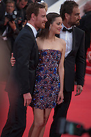 Actress Marion Cotillard, actor Michael Fassbender and Director Justin Kurzel, at the gala screening for the film Macbeth at the 68th Cannes Film Festival, Saturday 23rd May 2015, Cannes, France.