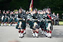 &copy; Licensed to London News Pictures. 01/07/2016.<br /> <br /> HM The Queen attends the Ceremony Of The Keys, Holyrood Palace, Edinburgh on 1st July 2016, the day before opening the State Opening of the Scottish Parliament which occurs every five years.   <br /> <br /> The guard was found by soldiers from A Company, 2nd Battalion The Royal Regiment of Scotland (RROS) and the  Pipes and Drums of 3 Scots, The Band of The RROS.<br /> <br /> Photo credit should read LNP.