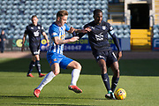 6th October 2018, Dens Park, Dundee, Scotland; Ladbrokes Premiership football, Dundee versus Kilmarnock; Glen Kamara of Dundee challenges for the ball with Eamonn Brophy of Kilmarnock