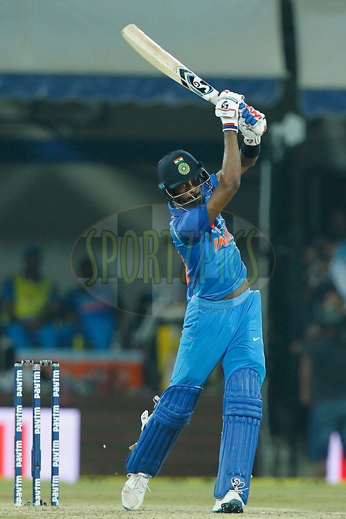 Hardik Pandya of India bats during the 3rd One Day International between India and Australia held at the Holkar Stadium in Indore on the 24th  September 2017<br /> <br /> Photo by Deepak Malik / BCCI / SPORTZPICS