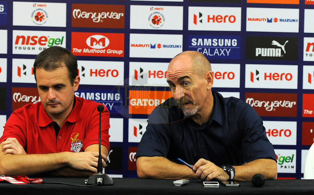 Atletico de Kolkata coach Antonio Lopez Habas (R) along with a support staff addresses a press conference after match 44 of the Hero Indian Super League between FC Pune City and Atletico de Kolkata FC held at the Shree Shiv Chhatrapati Sports Complex Stadium, Pune, India on the 29th November 2014.<br /> <br /> Photo by:  Pal Pillai/ ISL/ SPORTZPICS