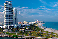 Aerial View or Miami Beach, Highrises and South Point Park in Miami, Florida. and South Point Park in Miami, Florida.