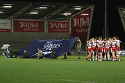 Gloucester at the start of the Aviva Premiership match between Sale Sharks and Gloucester Rugby at the AJ Bell Stadium, Eccles, United Kingdom on 29 September 2017. Photo by George Franks.