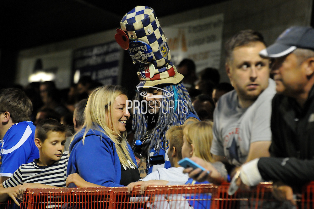 Mr Portsmouth ever present as always during the Sky Bet League 2 match between Crawley Town and Portsmouth at the Checkatrade.com Stadium, Crawley, England on 18 August 2015. Photo by Michael Hulf.