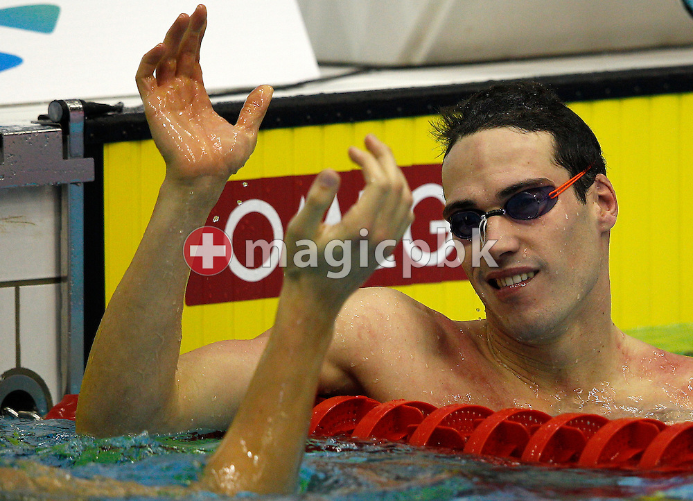 Fabio SCOZZOLI of Italy reacts after winning the men's 50m Breaststroke Final during the 15th European Short Course Swimming Championships in Szczecin, Poland, Saturday, Dec. 10, 2011. (Photo by Patrick B. Kraemer / MAGICPBK)