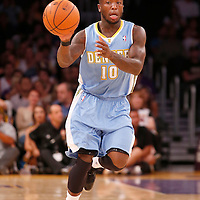 06 October 2013: Denver Nuggets point guard Nate Robinson (10) passes the ball during the Denver Nuggets 97-88 victory over the Los Angeles Lakers at the Staples Center, Los Angeles, California, USA.